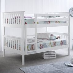 Small Double Bunk Bed Wooden Headboard Ladder Pine Children Bedroom Furniture for sale online Bunk Beds Small Room, White Bunk Beds, Cool Bunk Beds, Bunk Beds With Stairs, Kids Bunk Beds, Small Rooms, Small Space, Triple Bunk Bed Ikea, Double Bunk Beds