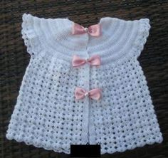 How to tutorial knitting and crochet baby pattern free Knitting For Kids, Baby Knitting Patterns, Crochet For Kids, Baby Patterns, Crochet Cardigan, Knit Crochet, Kids Dress Clothes, Crochet Crocodile Stitch, Baby Girl Cardigans