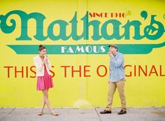 Engagement Photos from Coney Island in New York - I love these peeps! one year anniversary idea