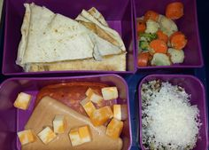 Kid Bento Lunch -sunbathers and banana quesadilla -mixed veggies -uncured pepperoni and bologna -cheese stick -quinoa with parmesan cheese