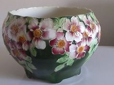 ANTIQUE FRENCH MAJOLICA KELLER GUERIN ST.CLEMENTS JARDINIER PLANTER