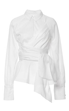 This **Azede Jean Pierre** front zip wrap shirt features a collared neck with a wraparound sash bodice and long cuffed sleeves.
