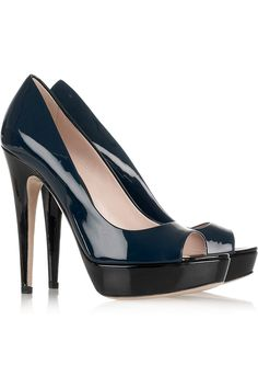 Miu Miu Two-tone patent-leather pumps navy/black
