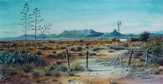 Karoo-Landscape-with-Agaves. Sheep Paintings, Nature Paintings, Beautiful Paintings, Acrylic Paintings, Landscape Drawings, Landscape Art, Landscape Paintings, Landscape Photography, Watercolor Artists
