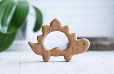 Organic Wooden Teether. Beech Dinosaur Teething Toy.  Hand-carved Teether. Natural Baby Toy. Eco Friendly Infant Toy. Newborn gift.