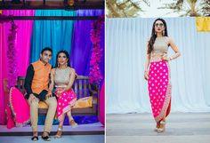 A high-waisted, straight hot pink skirt, a mirror-work scallop crop choli, and a cape by Arpita Mehta for the mehendi of Eshanka of WeddingSutra. Photo Courtesy- Imprint Studio #WeddingSutraP2W