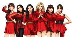 Kpop Girl Groups, Korean Girl Groups, Kpop Girls, Anime Girls, Best Friend Drawings, Kpop Drawings, Sunrise Drawing, Cut Her Hair, Korean Art