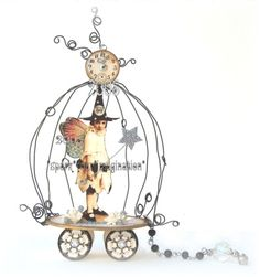 *tHe WiTcHiNG HouR* FaiRy HaLLoWeeN WiTcH BiRDCaGe PuLL ToY aLTeReD aRt ViNTaGe PaPeR DoLL CoLLaGe | Flickr - Photo Sharing!