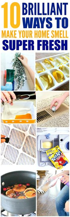 These 10 easy ways to make your home smell good and fresh are THE BEST! I'm so glad I found these AWESOME tips! Now I have a great way to make my home smell great with these smell hacks! Definitely pinning!