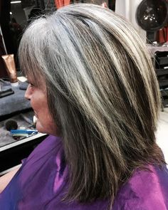 """""""The first stages of this beautiful transformation. 14 hour transformation from brown colored treated hair to salt and pepper #highlights and #lowlights…"""""""