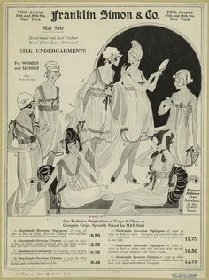 Hand-made and real Irish or real filet lace trimmed silk undergarments for women and misses. (1918)