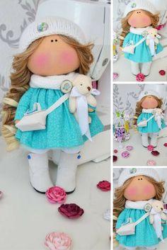 Tilda doll Fabric doll Interior doll Handmade doll Art doll brown aqua color soft doll Cloth doll Love doll by Master Tanya Evteeva
