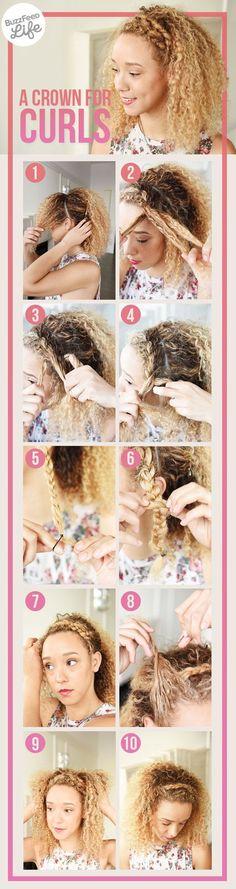 Faça uma trança na porção frontal do seu cabelo para ter uma tiara natural.   17 penteados lindos para cabelos naturalmente cacheados