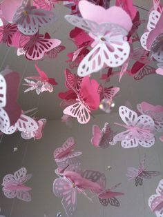 Monarch Butterfly Chandelier Mobile pink and by DragonOnTheFly, $45.00