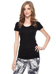 Splendid Official Store, 1x1 Jersey Scoop Neck Tee, black, Womens : Tops : Short Sleeve, STAG1614
