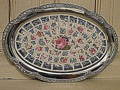 Floral mosaic silver serving tray...Perfect for Tea Time!!