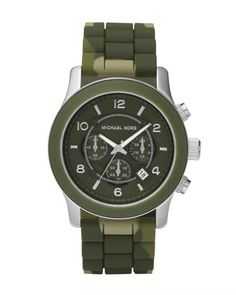 Michael Kors Men\'s Silicone Watch, Green Camo.