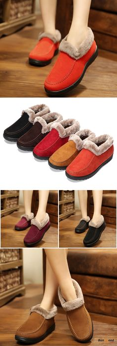 US$20.99 + Free shipping. Size: 5~11. Color: Black, Red, Coffee, Yellow. Fall in love with casual and warm style! Suede Wool Lining Slip On Ankle Short Snow Boots.