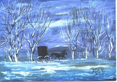 Amish Buggy Winter Ride  landscape painting  by jimsmeltzgallery, $30.00