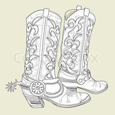 Free Cowboy boot outline   Vector of 'Hand drawn sketch of a cowboy boots'
