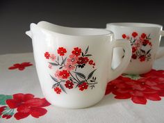 Vintage Fire King Creamer and Sugar Primrose Milk Glass Floral Cream Pitcher Red Flowers 1960s