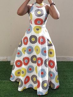 african fashion Material:Twilled Satin Silhouette:Expansion Dress Length:Floor-Length Sleeve Length:Sleeveless Combination Type:Single Waist Line:Standard-Waist Closure:Pullover Elasti African Print Fashion, African Fashion Dresses, Dress Fashion, African Attire, African Dress, African Style, Geometric Dress, Floral Print Maxi Dress, Western Dresses