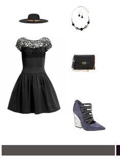Accessorize Black Fit & Flare Dress with matching delicate round stone jewelery. #littleblackdress