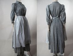 Day Dress (Wrapper) with Calico Apron: ca. gingham dress, buttons close front and cuff. 1890s Fashion, Edwardian Fashion, Vintage Fashion, Vintage Outfits, Vintage Dresses, 1800s Clothing, Women's Clothing, Historical Clothing, Pioneer Clothing