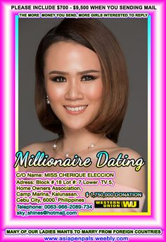 Millionaire Matchmaker, Millionaire Dating, Philippines, Filipino Dating, Single Dating Sites, Dating Services, Filipina Girls, Filipina Beauty, Dating Girls