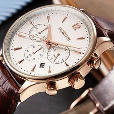 2016 Fashion OCHSTIN Men Watches Top Brand Luxury CHRONOGRAPH Function Date Leather Sport Watch Men Business Quartz Wrist Watch