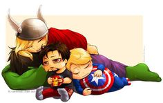 Image discovered by Lady of Magic. Find images and videos about Avengers, chibi and captain america on We Heart It - the app to get lost in what you love. Baby Avengers, Avengers Fan Art, Young Avengers, Marvel Avengers, Avengers Cartoon, Marvel Heroes, Baby Loki, Baby Marvel, Avengers Humor