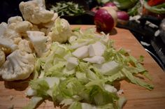 the inner pale green leaves & stalk of a cauliflower contain lots of flavour. Don't throw them away, use them! Green Leaves, Potato Salad, Cauliflower, Cabbage, Waiting, Curry, Vegetables, Cooking, Ethnic Recipes