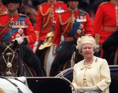 Queen Elizabeth II returns to Buckingham Palace after watching The Trooping Of The Colour in London on June 14 , 1997.