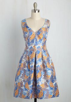 All High Tea, Then! Dress. An invite to chat over chamomile and crumpets while wearing this fit and flare dress by Adrianna Papell? #multi #modcloth