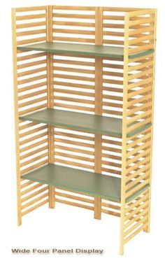 Wide 4 panel collapsible lightweight craft display shelf If the back of the shelves have tabs to fit into the back slots, the shelves can't simply pull out of the front or sides. Vendor Displays, Craft Booth Displays, Store Displays, Display Ideas, Booth Ideas, Jewelry Displays, Craft Show Booths, Craft Show Ideas, Portable Display