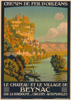 chemins de fer d'orléans - Le château et le village de Beynac - Dordogne - illustration de Constant Duval - 1923 - France -
