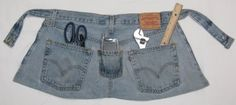 Recycle those Old Jeans...I take off the pockets, sew on a better pouch for a tool belt. Has lots of verticle seams to keep tools organized. Great idea and a excellent gift.