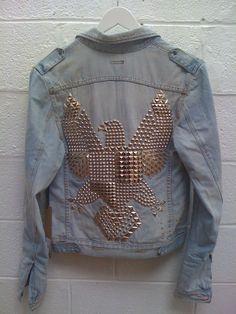 baby blue, back, balmain, bird, denim, eagle, fashion, jacket, jean jacket, jeans, sexy, spikes, street fashion, studs