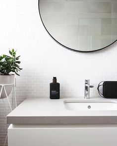 I love what you've done with our new INAX mosaics these tiles looks great with white or charcoal grout Best Bathroom Tiles, Bathrooms, Mosaic Tiles, Mosaics, Powder Room, Countertops, New Homes, Mirror, Interior