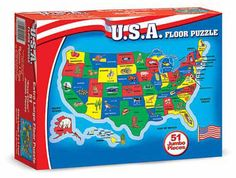 U.S.A. (United States) Map Floor Puzzle: 51 Pieces, 6+ Years