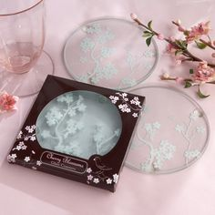 """Cherry Blossom"" Coasters from #exclusivelyweddings - used as a gift for winning a bridal shower game"