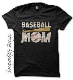 Baseball Mom Shirt - Custom Baseball Shirt / Womens Customized Tshirt / Sports Mom Clothing / Baseball Bat Tee / Black Tball Mom TShirt by Scrapendipitees