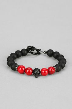 Mister Black & Red Bead Bracelet
