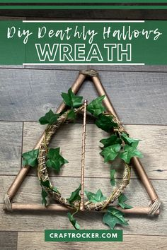 Calling my fellow Harry Potter fans! This DIY Deathly Hallows wreath is super easy to make from Dollar Tree finds and looks beautiful on your door or wall. #harrypottercrafts #deathlyhallows #wreath #diydecor #diyharrypotterwreath #craftrocker