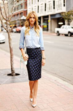 Tops, skirt, and shoes by J.Crew, purse by Rebecca Minkoff. (February 28, 2013)