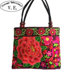 National trend embroidery bags Women  double faced flower embroidered one shoulder bag Small handbag * Find out more by clicking the VISIT button