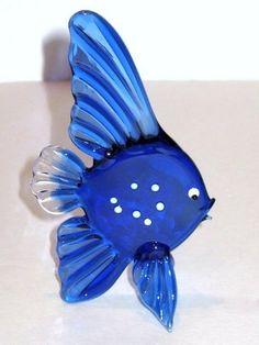 Murano Blown Glass Cobalt Blue White Angel Fish Figurine | eBay