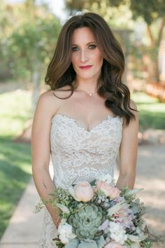 Wedding hair, sultry romance, intense volume, loose barrel curls, red lipstick, brunette bride, strapless lace dress // Anna J Photography