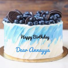 Write Name on Oreo Biscuit and Blueberry Birthday Cake