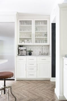 Coffee Bar in White Kitchen - Room for Tuesday Coffee Station Kitchen, Coffee Bars In Kitchen, Bar In Kitchen, Kitchen Cabinet Remodel, Kitchen Cabinets, White Cabinets, Bar Embutido, Coffee Bar Built In, Coffee Nook